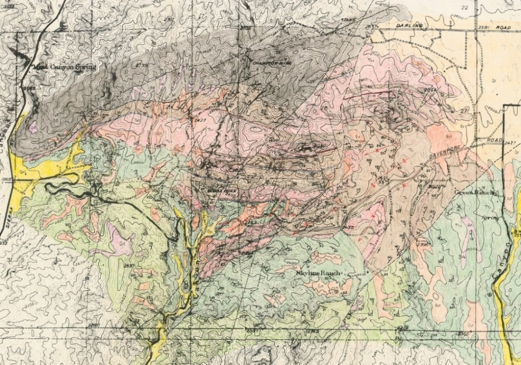 Geologic Map From The Geology Of Tick Canyon By Ygnacio Bonillas California Insute Of Technology 1933 Yellow Is Bat Complex Blue Is Escondido