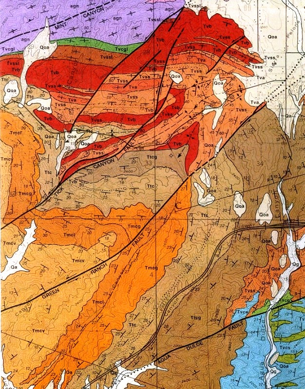 Map From The Geologic Map Of The Mint Canyon Quadrangle Df 57 By Thomas W Dibblee Jr 1996 Dibblee Geologic Maps Can Be Purchased Online Here