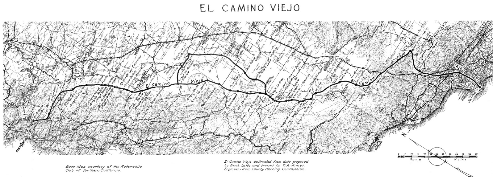 The Old Road Camino California Map on